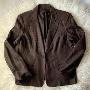 Anne Klein 100% Linen Brown Notch Collar Blazer